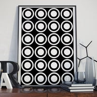 Modern Circle Geometric Black and White Poster Printable Download