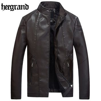 Leather Jacket Men Thickening Warm Outwear Fur Collar Mens