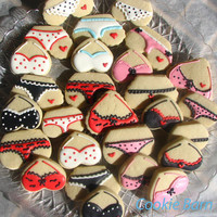 Bachelorette Bra/Panty Lingerie Theme Mini Decorated Cookies
