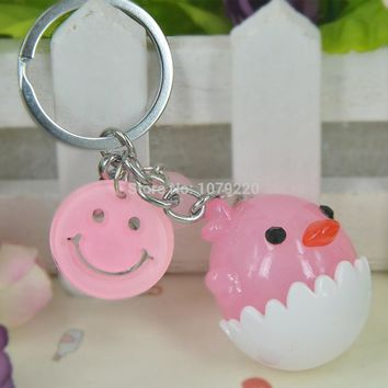 Cute Chicken Shell Acrylic Keyring Jewelry Women Charm Key Bag Chain Christmas Mother's Day Lover Girl Gift