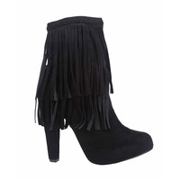 Black Faux Suede Fringe Zip High Heel Ankle Boots