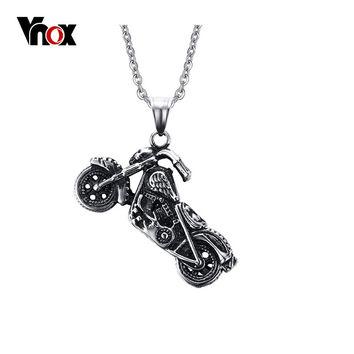 Vnox Men's Ghost Rider Rock Punk Necklaces Pendants Fashion Stainless Steel Motorcycle Necklace Men Vnox Jewelry