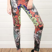 P1120 Pink Multi Baroque Inspired Ed Hardy Legging Pants and Shop Apparel at MakeMeChic.com