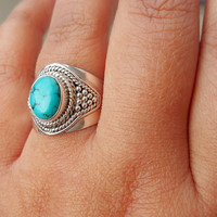 Turquoise Ring - Gemstone Ring - Statement Gypsy Boho Ring - Turquoise Ring Sterling Silver Ring - Tibetan Nepal Turquoise Jewelry