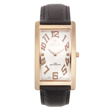 Croton Mens Stainless steel Rosetone Rectangular Watch