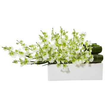 Artificial Flowers -Dancing Lady Orchid Green in Rectangular Ceramic