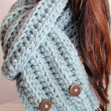 Blue Winter Scarf Chunky Baby Blue Neckwear - Women's Blue Crochet Wrap Acrylic Wool Blend Coconut Buttons Crocheted Gift for Mom, Sister