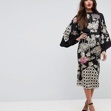 ASOS Patchwork Embroidered Kimono Midi Dress at asos.com