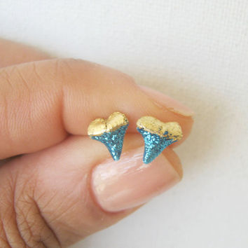 Hand Painted Blue Gold Shark Tooth Stud Earrings