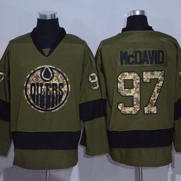 2016 Ice Hockey Army Green Edmonton Oilers Jerseys Salute To Service Connor McDavid Jersey 97 Fashion Breathable Embroidery And Sewing Logo