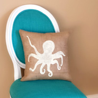 Octopus Burlap Pillow, Nautical Pillow, Coastal Decor, Beach House, Beach Decor, Home Decor, Ocean, Sea Creatures **FREE SHIPPING**