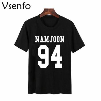 Vsenfo Bts Namjoon T-Shirt Women Cotton Short Sleeve Aesthetically Tumblr Women'S T-Shirt Camiseta Feminina Top Female