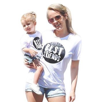 Mother Daughter Women Short Sleeve Letter T shirt  Outfit drop shipping