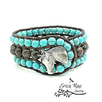 Western gemstone leather cuff bracelet