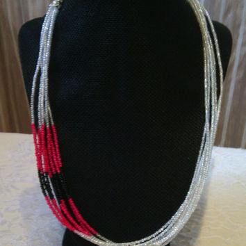 Multi-strand Seed Bead Necklace - Fushia, Black and White Seed Bead Necklace - Siding with Color Necklace - 7 Strand Necklace