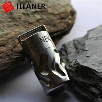 Outdoor Camping Titaner Titanium Waterproof Tablet Pill Box Medicine Capsule with Key Chain Portable Container/Case Travel Kits