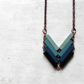 Wood Geometric Necklace // NOCTURNO // Minimal Jewelry // Black Blue Mint Hand-Painted Necklace // Modern Necklaces // Chevron Necklace