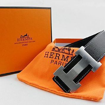 Leather Black Hermes Belt H Metal Steel Slide Buckle Adjustable Men Women Gift