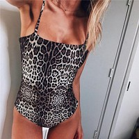 Fashion Women Sleeveless Leopard Strappy Hot Sexy Tops Leotard Print Cami Jumpsuit Bodysuit Bodycon Backless Ladies