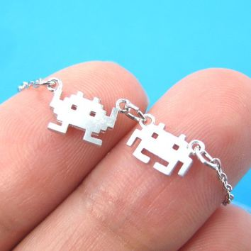 Atari Space Invaders Arcade Alien Pixel Charm Necklace in Silver