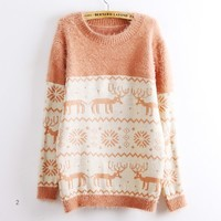 Deer Snowflake Round Neck Sweater For Women PInk