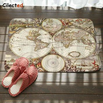 Autumn Fall welcome door mat doormat Cilected Vintage World Map Carpet Living Room Bedroom Polyester Fabric  Bathroom Kitchen Non-Slip Water Pad Home Decor AT_76_7