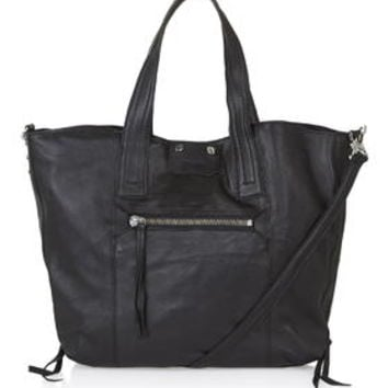 Casual Leather Holdall Bag - Black