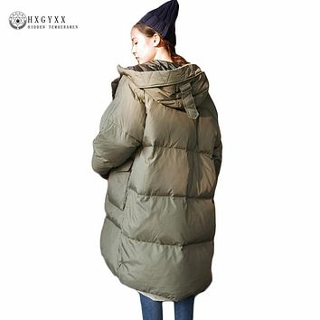 Winter Jacket Woman 2017 Loose Plus Size Hooded Parka Casual Warm Long Outerwear Down Cotton Coat Long Puffer Jackets Okb374
