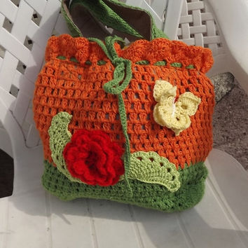 Crocheted hand bag, OOAK, Lunch bag, easter bag