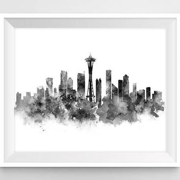 Seattle Skyline, Seattle Print, USA, Washington, Poster, Cityscape, Watercolor, Painting, Wall Art, City Art, Printable, Gift, Download
