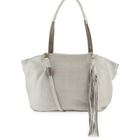 Jola Woven Double-Handle Satchel Bag, Off White