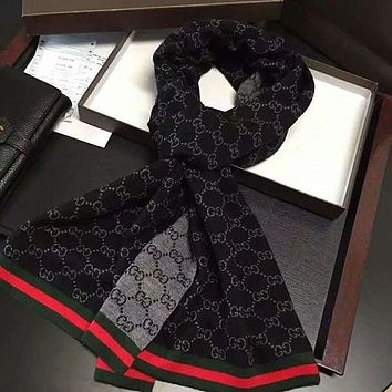 GUCCI Fashion Men Women Letter Print Cashmere Scarf Scarves Shawl