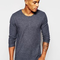 ASOS Waffle Jersey Muscle Long Sleeve T-Shirt With Grandad Neck