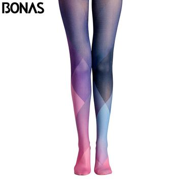 Color Grid Pantyhose Geometry Pattern Tights Leggings Women Print High Waist Halloween Dance Pantyhose Compression Stockings