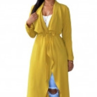 Yellow Lightweight Maxi Trench Jacket
