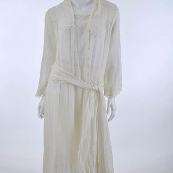 1920s White Voile Dropped Waist Tea Dress Dress