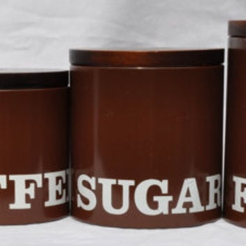 Vintage Ransburg Canister Set of 4 Clarendon Brown Retro Vintage Kitchen MId Century Modern