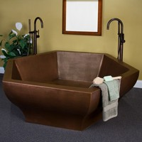"73"" Riley Hexagon Hammered Copper Soaking Tub"