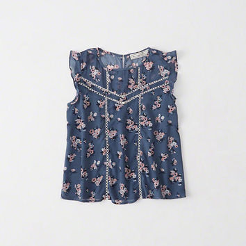 Womens Pattern Ruffle Top | Womens Tops | Abercrombie.com
