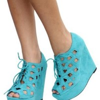 Teal Cutout Faux Suede Lace_up Open Toe Platform Wedge Heels Resist 11: Shoes