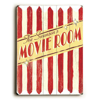 Personalized Family Movie Room Wood Sign