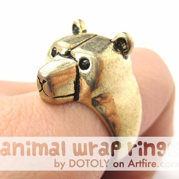 3D Adjustable Polar Bear Animal Wrap Around Hug Ring in Shiny Gold | Animal Jewelry