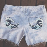 Hand painted shorts- acid wash with Japanese wave