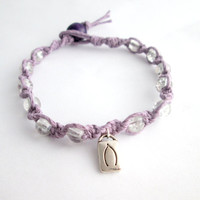 Wishbone Charm Bracelet Lavender Glass Beaded Hemp Bracelet Wish Jewelry