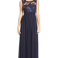 Junior Women's Sequin Hearts Sequin Lace Bodice Gown,