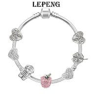 Pink Crystal Apple Stainless Silver Plated Charms Beads Fit Pandora Charm Bracelets For Women Bracelets &Bangles Jewelry