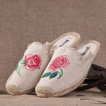 Soludos Women Slipper Rose embroidery Espadrilles Shoe