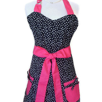 Cute Retro Apron - Vintage Inspired Apron for Women Full Hostess Reversible Apron -  Black and White Polka Dot with Hot Pink Ties