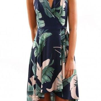 Green Leaf Printed High-Low Sleeveless Navy Skater Dress