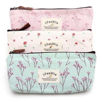 Fashion Women Cosmetic Bags Fresh Cute Canvas Multifunction Makeup Organizer Bag Lady Toiletry Travel Bags